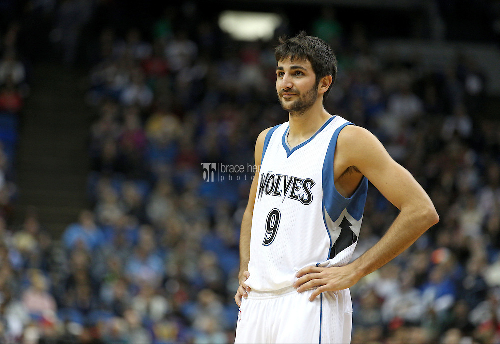 Nov 1, 2014; Minneapolis, MN, USA; Minnesota Timberwolves guard Ricky Rubio (9) against the Chicago Bulls at Target Center. The Bulls defeated the Timberwolves 106-105. Mandatory Credit: Brace Hemmelgarn-USA TODAY Sports