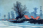 Buildings with red roofs in a winter landscape. Konen Uehera (1878-1940) Japanese artist.  Print 1900-1920.  Snow Trees Peace Quiet Stillness
