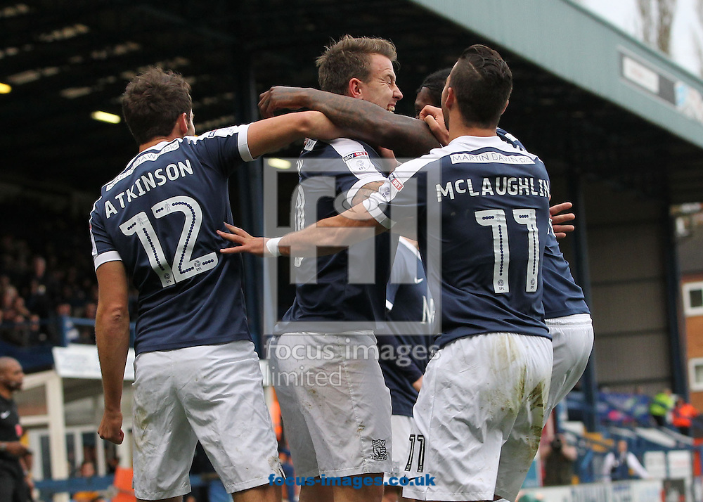 Simon Cox of Southend United celebrates with his team mates after scoring the second goal against Bury during the Sky Bet League 1 match at Gigg Lane, Bury.<br /> Picture by Michael Sedgwick/Focus Images Ltd +44 7900 363072<br /> 12/11/2016