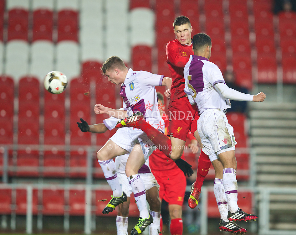 ST. HELENS, ENGLAND - Wednesday, January 15, 2014: Liverpool's Lloyd Jones in action against Aston Villa during the FA Youth Cup 4th Round match at Langtree Park. (Pic by David Rawcliffe/Propaganda)