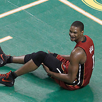07 June 2012: Miami Heat power forward Chris Bosh (1) lays on the floor during second half of Game 6 of the Eastern Conference Finals playoff series, Heat at Celtics at the TD Banknorth Garden, Boston, Massachusetts, USA.
