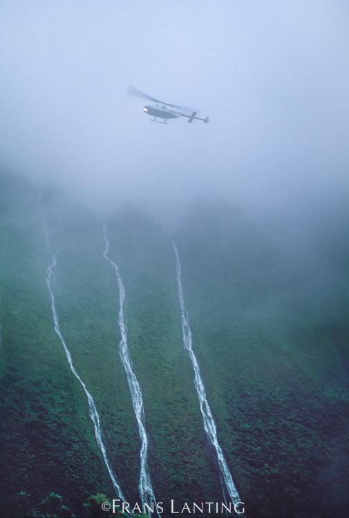 Helicopter flying over Wai Ale Ale, Kaui