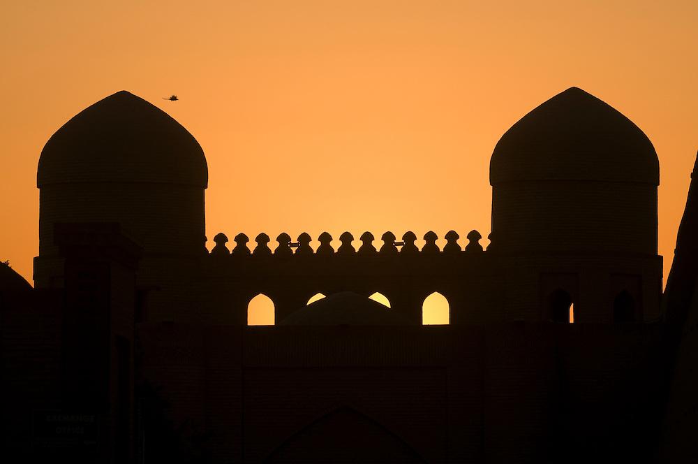 Mosque in Ichon-Qala Fortress in twilight, Khiva, Uzbekistan