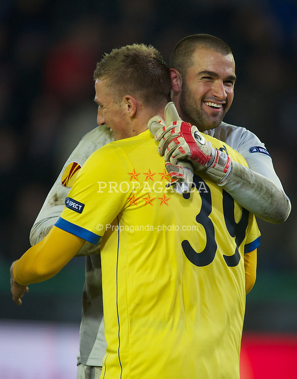 BRUGES, BELGIUM - Thursday, October 20, 2011: Birmingham City's Chris Wood celebrates celebrates with goalkeeper Boaz Myhill against Club Brugge to win the game 2-1 deep into 10 minutes of injury time during the UEFA Europa League Group H match at the Jan Breydelstadion. (Pic by David Rawcliffe/Propaganda)