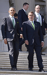 U.S. President Barack Obama (L) and House Speaker John Boehner walk down the steps of Capitol Hill after the annual St. Patrick s Day luncheon in Washington D.C., capital of the United States, March 19, 2013. Photo by Imago / i-Images...UK ONLY.