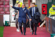 Rangers security chief Robin Howe (left) arrives with Steven Gerrard, manager of Rangers FC before the Ladbrokes Scottish Premiership match between Heart of Midlothian and Rangers FC at Tynecastle Park, Edinburgh, Scotland on 20 October 2019.