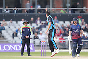 Worcestershire's Josh Tongue appeals  during the Royal London 1 Day Cup match between Lancashire County Cricket Club and Worcestershire County Cricket Club at the Emirates, Old Trafford, Manchester, United Kingdom on 17 April 2019.