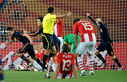 03.07.2010, Ellis Park, Johannesburg, RSA, FIFA WM 2010, Viertelfinale, Paraguay (PAR) vs Spanien (ESP), im Bild L'esultanza di David Villa (Spagna) per il gol dell'1-0  .David Villa 's celebration for his 1-0 leading goal scored for Spain. EXPA Pictures © 2010, PhotoCredit: EXPA/ InsideFoto/ Giorgio Perottino +++ for Austria and Slovenia only +++ / SPORTIDA PHOTO AGENCY