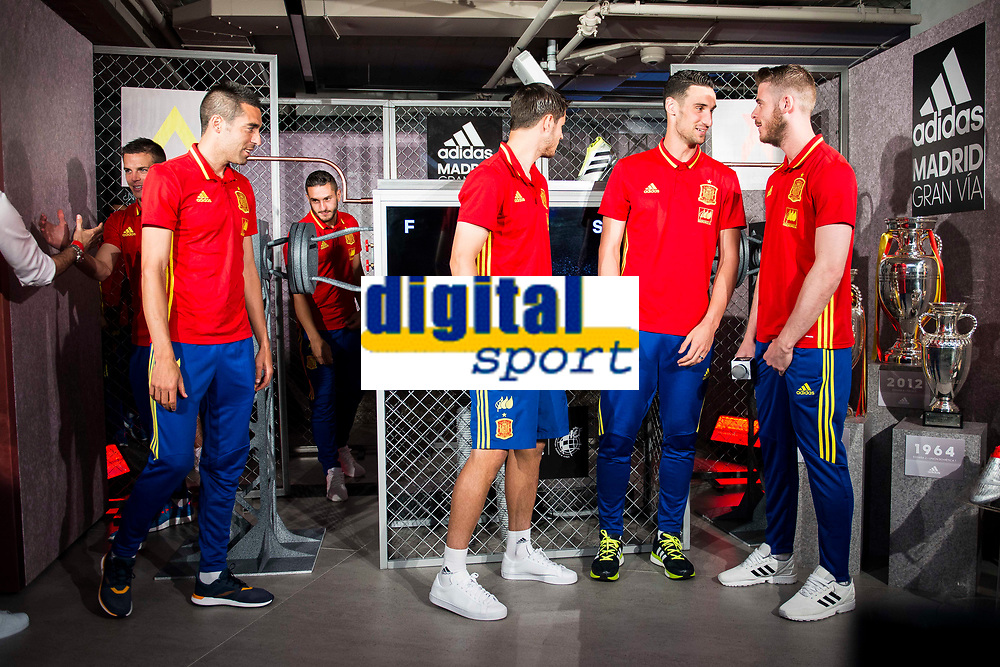 Bruno Soriano, Morata, Sergio Rico and De Gea during the opening of the corner of the Spanish team in its new Adidas Store Gran Vía in Madrid. June 05 2016. (ALTERPHOTOS/Borja B.Hojas)