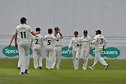 Notts celebrate the wicket of Adam Milne (not shown) bowled by Steven Mullaney during the Specsavers County Champ Div 2 match between Nottinghamshire County Cricket Club and Kent County Cricket Club at Trent Bridge, West Bridgford, United Kingdom on 26 June 2017. Photo by Simon Trafford.