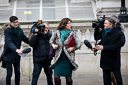 © Licensed to London News Pictures. 09/01/2018. London, UK. Secretary of State for Business, Energy and Industrial Strategy Claire Perry walking through Whitehall to attend a Cabinet meeting in Downing Street this morning. Yesterday British Prime Minister Theresa May reshuffled her cabinet, appointing some new ministers. Photo credit : Tom Nicholson/LNP
