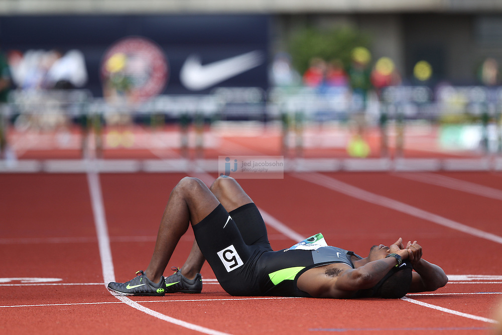 Bershawn Jackson lies on the ground after finishing fourth during the finals of the 400m hurdles during day 10 of the U.S. Olympic Trials for Track & Field at Hayward Field in Eugene, Oregon, USA 1 Jul 2012..(Jed Jacobsohn/for The New York Times)....