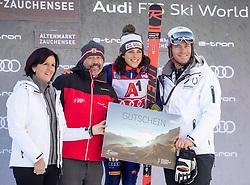 12.01.2020, Keelberloch Rennstrecke, Altenmark, AUT, FIS Weltcup Ski Alpin, Alpine Kombination, Damen, Siegerehrung, im Bild Federica Brignone (ITA, 1. Platz), Michael Walchhofer // race winner Federica Brignone of Italy Michael Walchhofer during the winner ceremony of women's Alpine combined for the FIS ski alpine world cup at the Keelberloch Rennstrecke in Altenmark, Austria on 2020/01/12. EXPA Pictures © 2020, PhotoCredit: EXPA/ Johann Groder