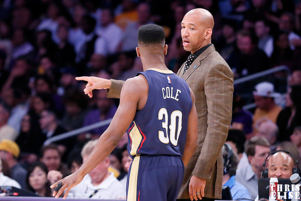 01 April 2015: New Orleans Pelicans head coach Monty Williams talks to New Orleans Pelicans guard Norris Cole (30) during the New Orleans Pelicans 113-92 victory over the Los Angeles Lakers , at the Staples Center, Los Angeles, California, USA.