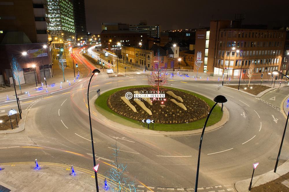 Furnival Square, Sheffield, street illumination at night