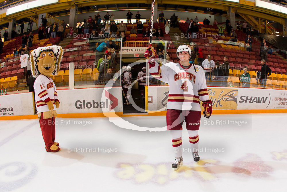13 October 2012:  Shay Laurent (4) of the Chiefs  during a game between the Chilliwack Chiefs and the Vernon Vipers at  Prospera Centre, Chilliwack, BC.    Final Score: Chilliwack 4  Vernon 1   ****(Photo by Bob Frid - All Rights Reserved 2012): mobile: 778-834-2455 : email: bob.frid@shaw.ca ****
