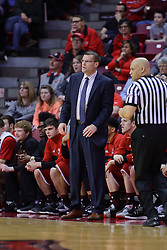 11 February 2017:  Dan Muller, Head Coach stands near the out of bounds line as Ed Crenshaw approaches during a College MVC (Missouri Valley conference) mens basketball game between the Bradley Braves and Illinois State Redbirds in  Redbird Arena, Normal IL