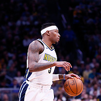 01 April 2018: Denver Nuggets guard Torrey Craig (3) brings the ball up court during the Denver Nuggets 128-125 victory over the Milwaukee Bucks, at the Pepsi Center, Denver, Colorado, USA.
