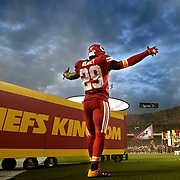 Kansas City Chiefs strong safety Eric Berry (29) reacted to a roaring stadium as he was introduced during the Kansas City Chiefs and Denver Broncos football game at Arrowhead Stadium on Thursday, September 17, 2015, in Kansas City, Missouri.