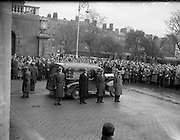 """Funeral of Sean South.04/01/1957..Seán South (1928–1 January 1957) was a member of an IRA military column led by Sean Garland on a raid against a Royal Ulster Constabulary barracks in Brookeborough, County Fermanagh, Northern Ireland on New Year's Day, 1957. South died of wounds sustained during the raid along with another IRA volunteer, Fergal O'Hanlon..Early life.Seán South was born in Limerick where he was educated at Sexton Street Christian Brothers School, later working as a clerk in a local wood-importing company called Mc Mahon's. South was a member of a number of organisations including the Gaelic League, Legion of Mary, Clann na Poblachta and Sinn Féin. In Limerick he founded the local branch of Maria Duce, a radical Catholic organisation, where he also edited both An Gath and An Giolla. He had received military training as a lieutenant of the Irish army reserve, the LDF which would later become the FCA (An Fórsa Cosanta Áitiúil or Local Defence Force), before he became a volunteer in the Irish Republican Army. ..Death.On New Year's Day 1957, fourteen IRA volunteers crossed the border into County Fermanagh to launch an attack on a joint RUC/B Specials barracks in Brookeborough. During the attack a number of volunteers were injured: two fatally. Fergal O'Hanlon and Seán South died of their wounds as they were making escape. They were carried into an old sandstone barn by their comrades, which was later demolished by a British army jeep. The stone from the barn was used to build a memorial at the site. ..Song.The attack on the barracks inspired two popular rebel songs: 'Seán South of Garryowen' and 'The Patriot Game '. .•.""""Sean South"""", also known as """"Sean South of Garryowen"""", written by Sean Costelloe, County Limerick to the tune of another republican ballad """"Roddy McCorley""""and made famous by the Wolfe Tones. The popularity of this song has led to the misconception that South was from Garryowen, a suburb in"""