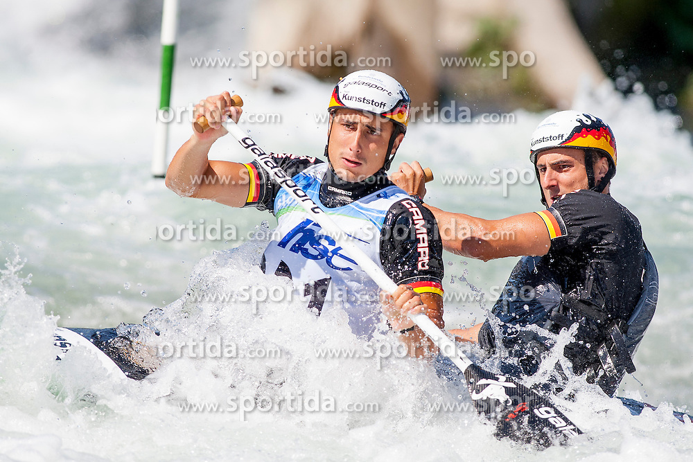 Kai Mueller and Kevin Mueller of Germany during Canoe (C2) Man semi-final race at ICF Canoe Slalom World Cup Sloka 2013, on August 18, 2013, in Tacen, Ljubljana, Slovenia. (Photo by Urban Urbanc / Sportida.com)