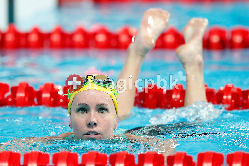 Emma McKEON of Australia on her way out after competing in the women's 200m Freestyle Heats during the 16th FINA World Swimming Championships held at the Kazan arena in Kazan, Russia, Tuesday, Aug. 4, 2015. (Photo by Patrick B. Kraemer / MAGICPBK)