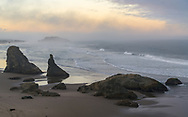 MIsty sunrise on Bandon Beach, OR