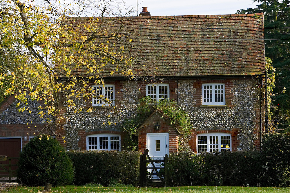 Traditional English brick and flint cottage in the Chilterns, Oxfordshire, United Kingdom