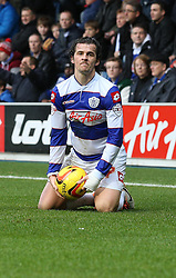 Queen Park Rangers' Joey Barton is not pleased with a free kick awarded against him - Photo mandatory by-line: Robin White/JMP - Tel: Mobile: 07966 386802 21/12/2013 - SPORT - FOOTBALL - Loftus Road - London - Queens Park Rangers v Leicester City - Sky Bet Championship