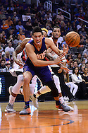 Nov 2, 2016; Phoenix, AZ, USA; Phoenix Suns guard Devin Booker (1) reacts while loosing control of the ball against the Portland Trail Blazers during the first half at Talking Stick Resort Arena. Mandatory Credit: Jennifer Stewart-USA TODAY Sports