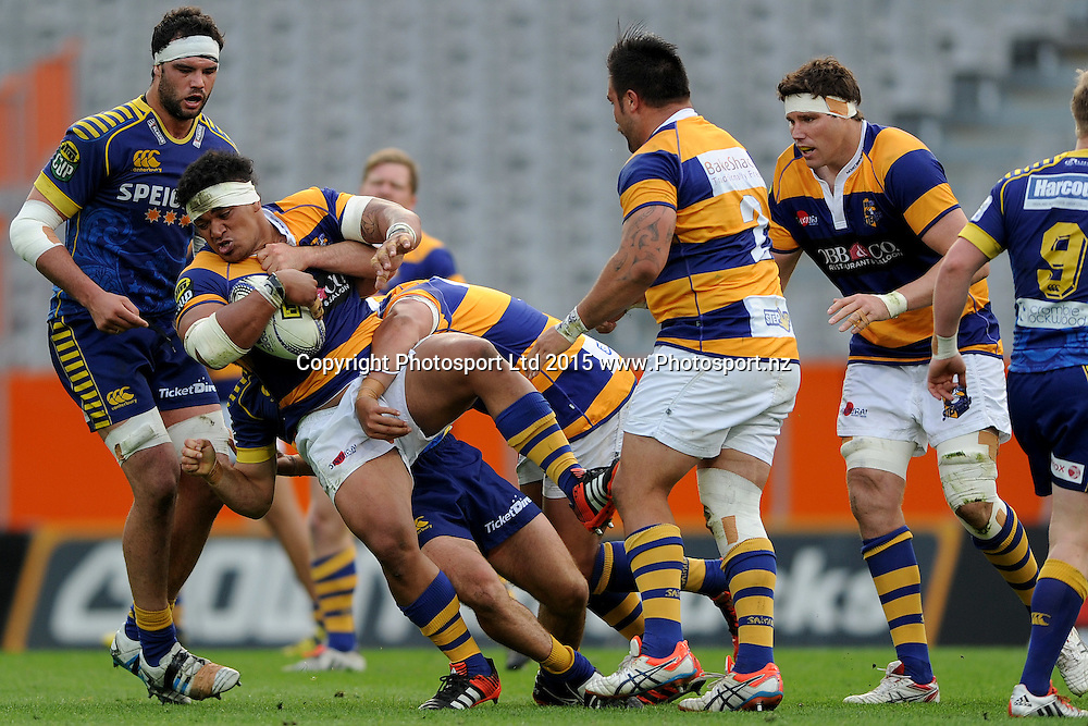 Siegfried Fisi'ihoi of Bay of Plenty gets caught by the defence, during the ITM Cup match between Otago and Bay of Plenty, Forsyth Barr Stadium, Dunedin, New Zealand, 11 October 2015. Credit: Joe Allison / www.Photosport.nz