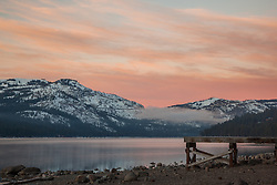 """Donner Lake Sunrise 10"" - Photograph of a dock along the north shore of Donner Lake at sunrise."