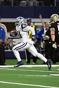 Dallas Cowboys running back Ezekiel Elliott (21) catches a 16 yard first quarter touchdown pass that gives the Cowboys a 10-0 lead during the NFL week 13 regular season football game against the New Orleans Saints on Thursday, Nov. 29, 2018 in Arlington, Tex. The Cowboys won the game 13-10. (©Paul Anthony Spinelli)