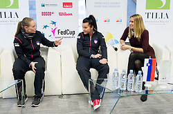 Tina Pisnik, Nastja Kolar and Polona Hercog  during press conference of Team Slovenia before playing in Zone Group 1 of Fed Cup tournament in Budapest on January 29, 2014 in BTC City, Ljubljana, Slovenia. Photo by Vid Ponikvar / Sportida