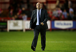 Accrington Stanley manager John Coleman leaves the field looking dejected at full time - Mandatory by-line: Matt McNulty/JMP - 22/08/2017 - FOOTBALL - Wham Stadium - Accrington, England - Accrington Stanley v West Bromwich Albion - Carabao Cup - Second Round