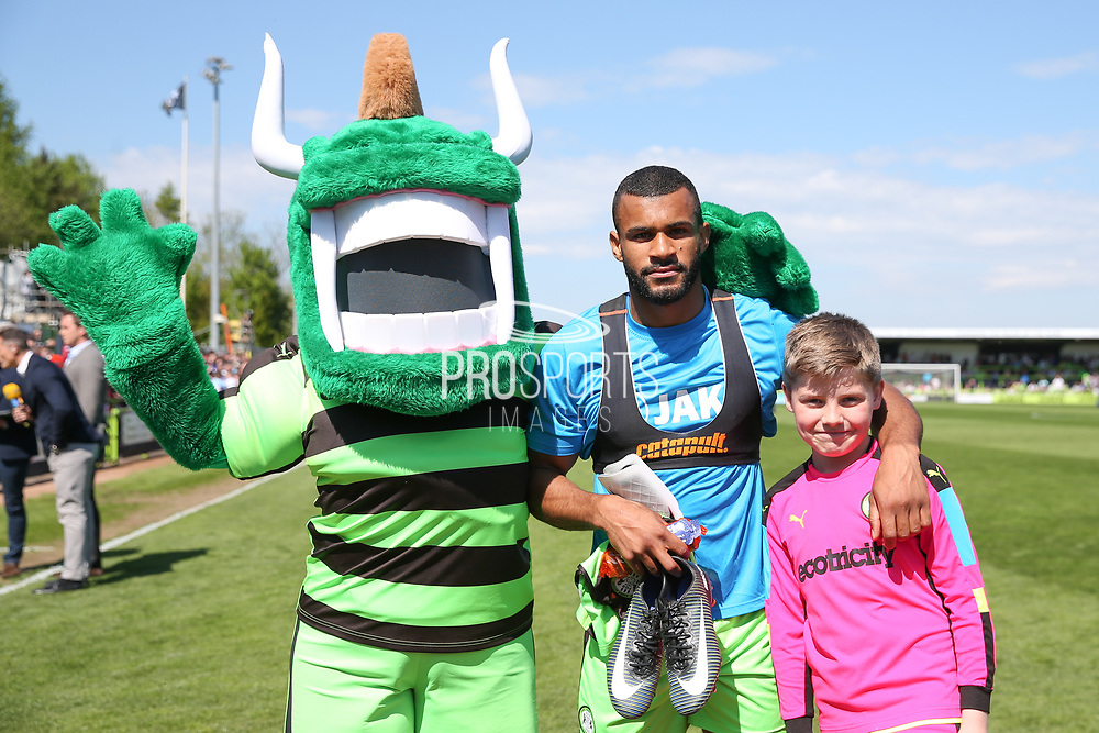 Forest Green Rovers Dan Wishart(17) with the FGR mascot during the Vanarama National League Play Off second leg match between Forest Green Rovers and Dagenham and Redbridge at the New Lawn, Forest Green, United Kingdom on 7 May 2017. Photo by Shane Healey.