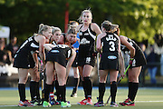 The Black Sticks gather to prepare a penalty corner. Black Sticks Women vs Australia, Ford Trans-Tasman Trophy test series, Lloyd Elsmore Hockey Stadium, Auckland, New Zealand. 20 November 2016. © Copyright Image: www.photosport.nz