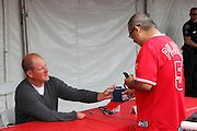 ANAHEIM, CA - APRIL 22:  Jim Abbott, former member of the Los Angeles Angels of Anaheim, signs autographs at FanFest before the game against the Baltimore Orioles on Sunday, April 22, 2012 at Angel Stadium in Anaheim, California. The Orioles won the game 3-2 in ten innings. (Photo by Paul Spinelli/MLB Photos via Getty Images) *** Local Caption *** Jim Abbott