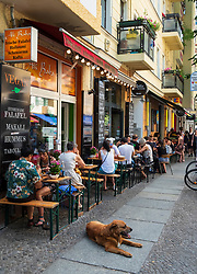Busy weekend restaurants in Friedrichshain district of Berlin, Germany