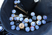 LOS ANGELES, CA - JUNE 17:  Baseball bats are stacked in an equipment bag during batting practice before the Los Angeles Dodgers game against the Colorado Rockies at Dodger Stadium on Tuesday, June 17, 2014 in Los Angeles, California. The Dodgers won the game 4-2. (Photo by Paul Spinelli/MLB Photos via Getty Images)
