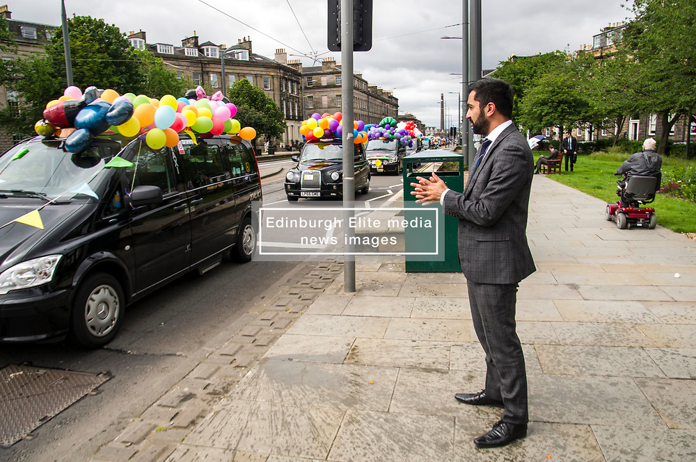 Pictured: Humza Yousaf<br /> <br /> There were np prisoners taken when the Edinburgh Taxi Drivers annual charity trip headin g towards Princes Street with Transport minister Humza Yousaf and policeman making great targets for the water bombs and water pistols carried by the young passengers.<br /> <br /> Ger Harley   EEm 13 June 2017