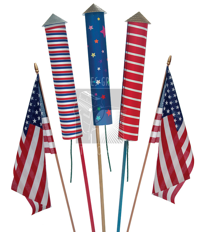 fireworks and US flags on white