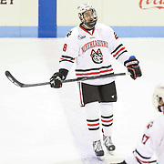 Ryan Rosenthal #28 of the Northeastern Huskies warms up on the ice prior to the game against the Minnesota Gophers at Matthews Arena on November 29, 2014 in Boston, Massachusetts. (Photo by Elan Kawesch)