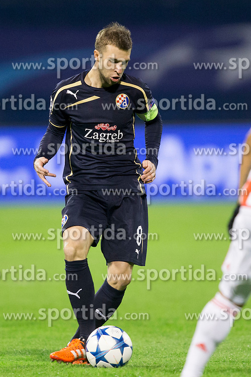 Domogoj Antolic #8 of GNK Dinamo Zagreb during football match between GNK Dinamo Zagreb and Olympiakos in Group F of Group Stage of UEFA Champions League 2015/16, on October 20, 2015 in Stadium Maksimir, Zagreb, Croatia. Photo by Urban Urbanc / Sportida