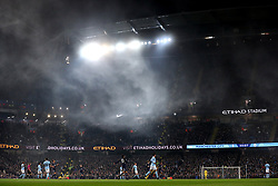 Fog descends on the pitch during the Premier League match at the Etihad Stadium, Manchester.