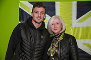 Forest Green Rovers goalkeeper Adam Smith(1) with his kit sponsor during the EFL Sky Bet League 2 match between Forest Green Rovers and Carlisle United at the New Lawn, Forest Green, United Kingdom on 28 January 2020.