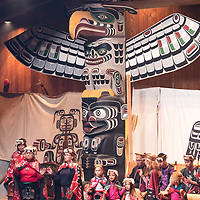 Kwakwaka'wakw cultural performance by the T'sasala Cultural Group in the 'Namgis Big House in the small village of Alert Bay, Cormorant Island, British Columbia, Canada.