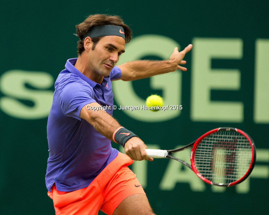 Roger Federer (SUI)<br /> <br /> Tennis - Gerry Weber Open - ATP 500 -  Gerry Weber Stadion - Halle / Westf. - Nordrhein Westfalen - Germany  - 19 June 2015. <br /> &copy; Juergen Hasenkopf