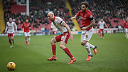Conor Sammon (Sheffield United) and Romain Vincelot (Coventry City) during the Sky Bet League 1 match between Sheffield Utd and Coventry City at Bramall Lane, Sheffield, England on 13 December 2015. Photo by Mark P Doherty.