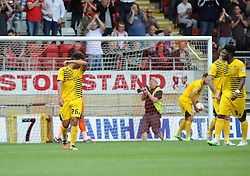 Disappointment for Tyler Lyttle of Bristol Rovers after Leyton Orient score the penalty - Mandatory byline: Neil Brookman/JMP - 07966386802 - 29/08/2015 - FOOTBALL - Matchroom Stadium -Leyton,England - Leyton Orient v Bristol Rovers - Sky Bet League Two